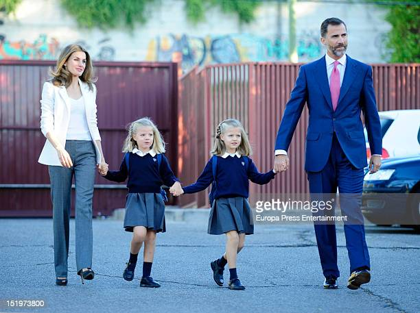 Princess Letizia of Spain Prince Felipe of Spain and their daughters Princess Sofia and Princess Leonor of Spain arrive at 'Santa Maria de los...