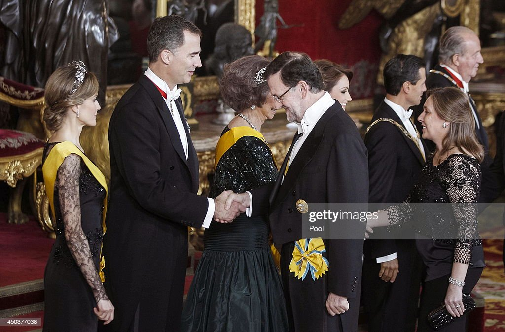 Princess Letizia of Spain, Prince Felipe of Spain greet Spanish Prime Minister Mariano Rajoy at a Gala Dinner in honour of Mexican President Enrique Pena Nieto at The Royal Palace on June 9, 2014 in Madrid, Spain.