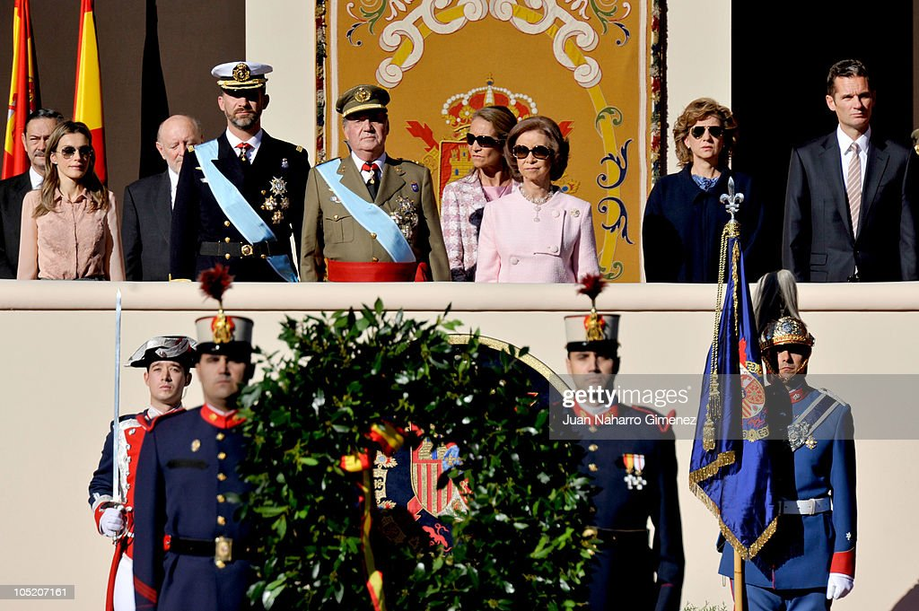Spanish Royals Attend National Day Military Parade