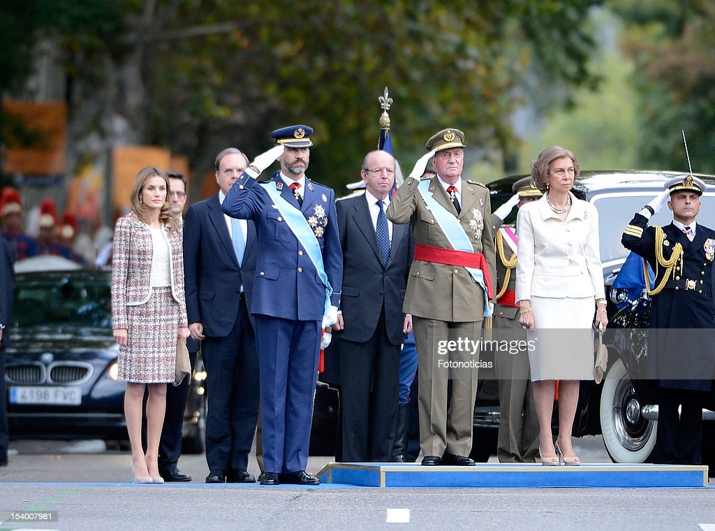 Princess Letizia of Spain, Prince Felipe of Spain, King Juan Carlos of Spain and Queen Sofia of Spain attend the National Day Military Parade on October 12, 2012 in Madrid, Spain.