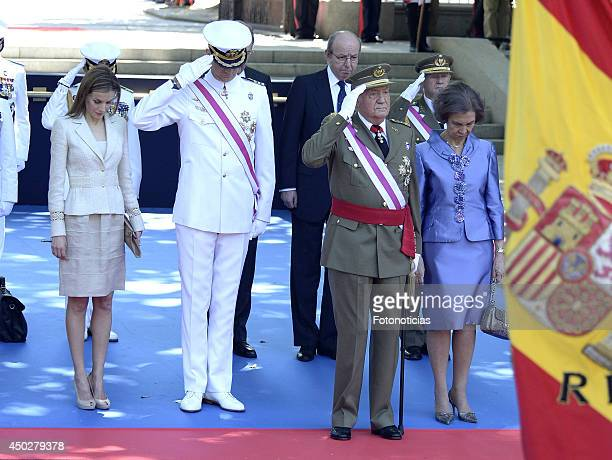 Princess Letizia of Spain Prince Felipe of Spain King Juan Carlos of Spain and Queen Sofia of Spain attend the Armed Forces Day celebration at Plaza...