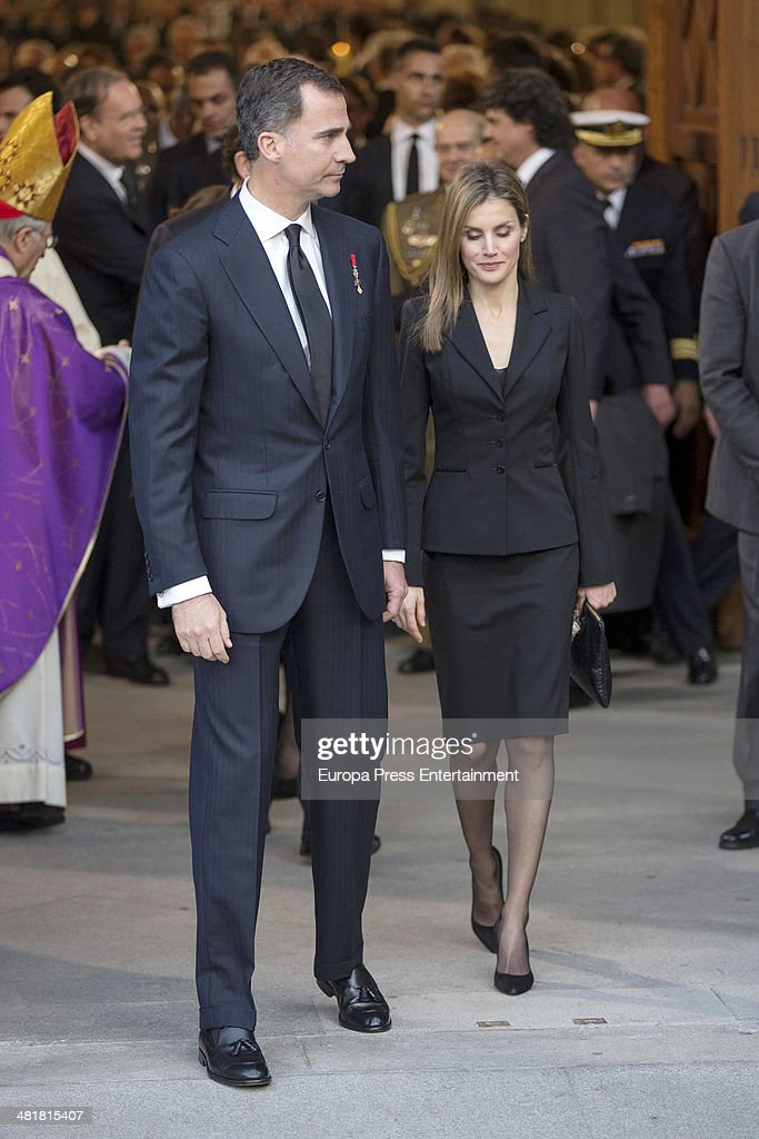 Spanish Royals Attend Funeral For Adolfo Suarez In Madrid - March 31, 2014 : ニュース写真