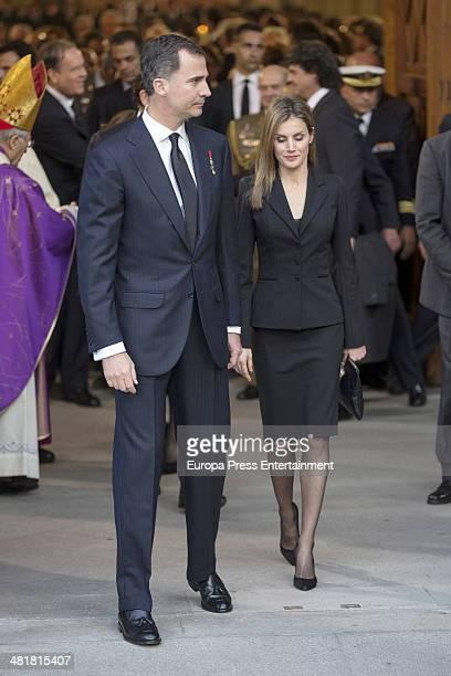 Princess Letizia of Spain Prince Felipe of Spain leave the state funeral ceremony for former Spanish prime minister Adolfo Suarez at the Almudena...