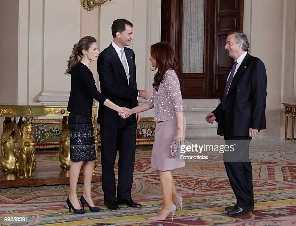 Princess Letizia of Spain Prince Felipe of Spain President of Argentina Cristina Fernandez and her husband Nestor Kirchner attend the VI European...