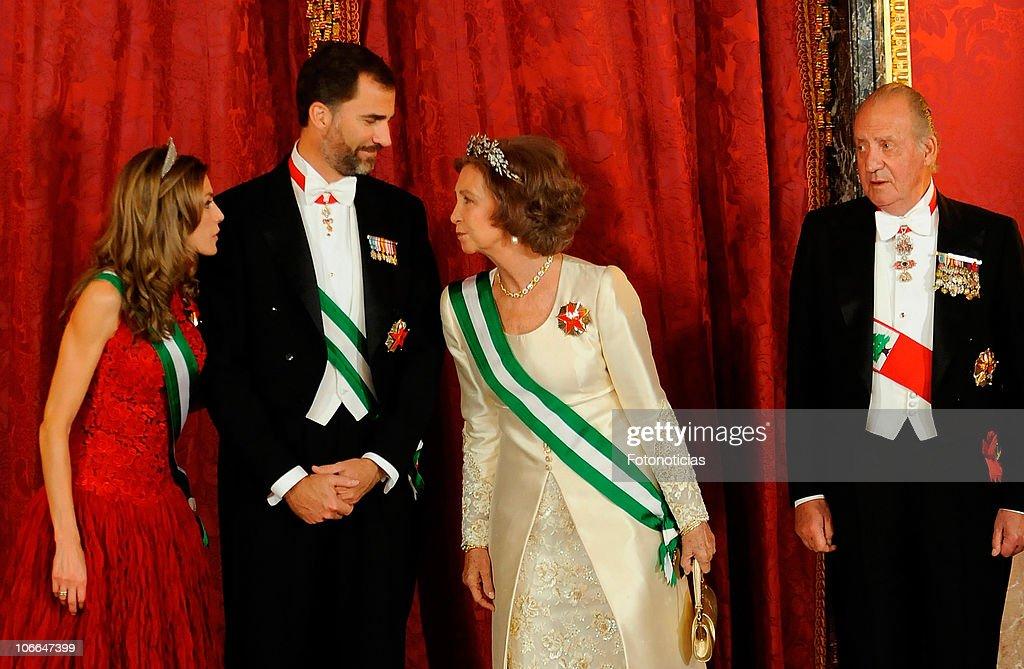 Spanish Royals Host Gala Dinner Honouring President of Lebanon : News Photo