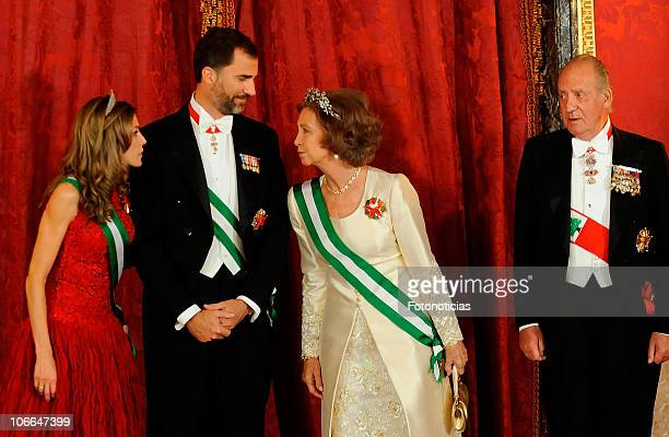 Princess Letizia of Spain Prince Felipe of Spain Queen Sofia of Spain and King Juan Carlos of Spain attend a Gala Dinner honouring Lebanon President...