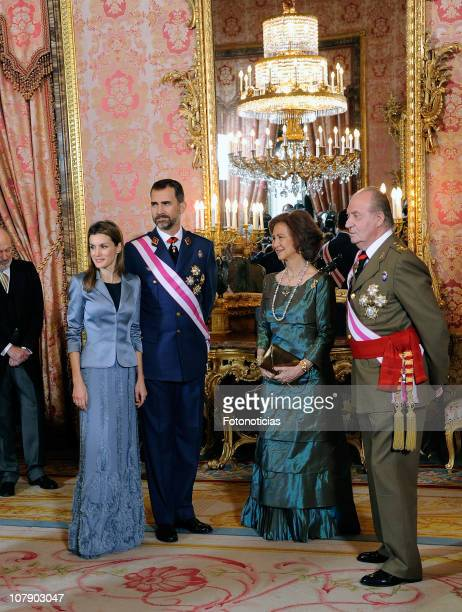 Princess Letizia of Spain Prince Felipe of Spain Queen Sofia of Spain and King Juan Carlos of Spain attend the new year Pascua Militar ceremony at...