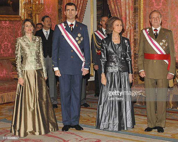 Princess Letizia of Spain Prince Felipe of Spain Queen Sofia of Spain and King Juan Carlos I of Spain host the Military Pasques Reception a...