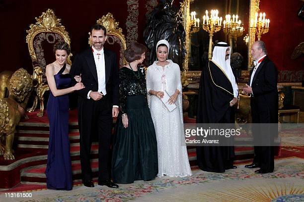 Princess Letizia of Spain Prince Felipe of Spain Queen Sofia of Spain Sheikha Moza Bint Nasser AlMissned Emir of the State of Qatar Sheikh Hamad Bin...