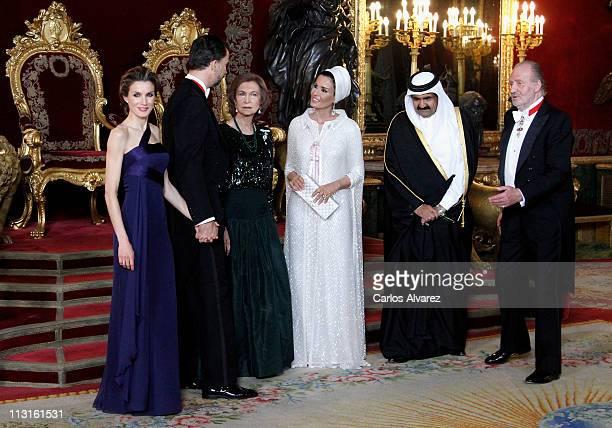 Princess Letizia of Spain, Prince Felipe of Spain, Queen Sofia of Spain, Sheikha Moza Bint Nasser Al-Missned, Emir of the State of Qatar Sheikh Hamad...