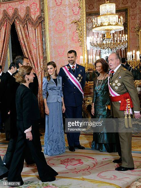 Princess Letizia of Spain, Prince Felipe of Spain, Queen Sofia of Spain and King Juan Carlos of Spain attend the new year Pascua Militar ceremony at...