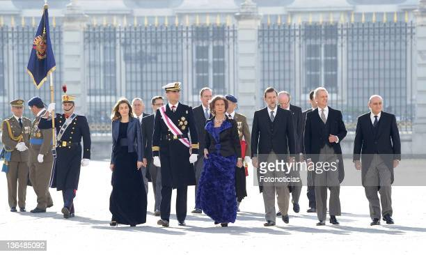 Princess Letizia of Spain Prince Felipe of Spain Queen Sofia of Spain and Prime Minister Mariano Rajoy attend the traditional 'Pascua Militar'...