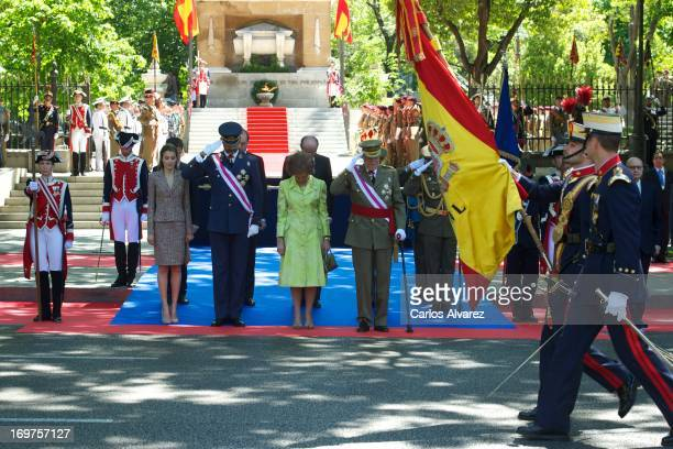 Princess Letizia of Spain Prince Felipe of Spain Queen Sofia of Spain and King Juan Carlos of Spain attend the Armed Forces Day on June 1 2013 in...