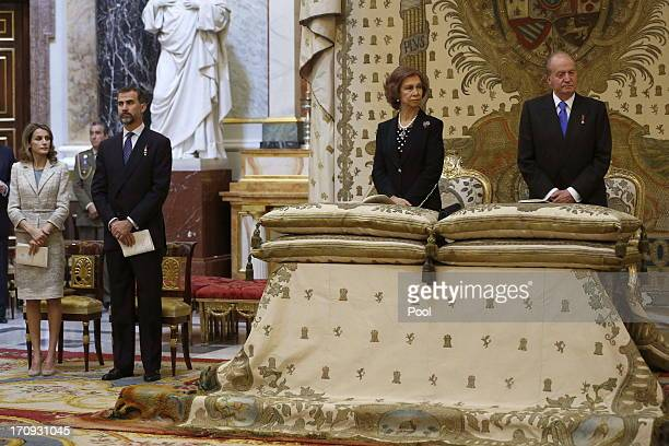 Princess Letizia of Spain Prince Felipe of Spain Queen Sofia of Spain and King Juan Carlos of Spain are seen at the Mass commemorating the centenary...