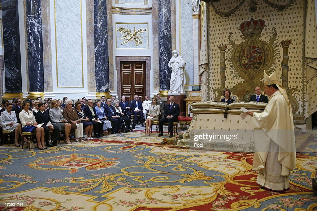 Princess Letizia of Spain, Prince Felipe of Spain, Queen Sofia of Spain, King Juan Carlos of Spain and other members of government are seen at the Mass commemorating the centenary of the birth of Don Juan de Borbon in the chapel of the Royal Palace in Madrid, Spain on June 20, 2013. The mass was attended by the Prince of Asturias, Spain's Prime Minister Mariano Rajoy, and other senior government officials.