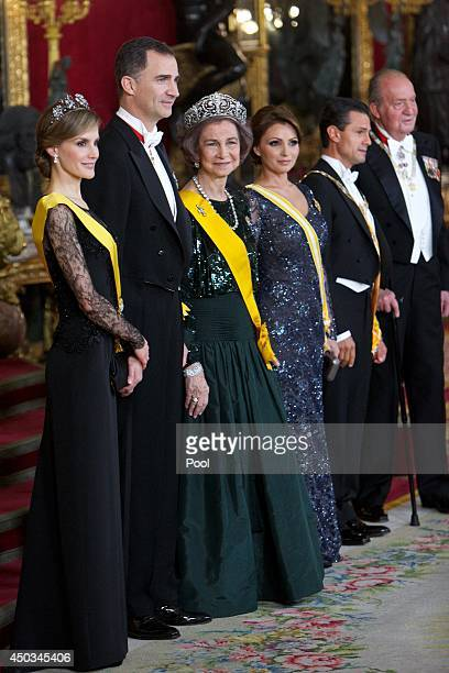 Princess Letizia of Spain Prince Felipe of Spain Queen Sofia of Spain Mexican President's wife Angelica Rivera Mexican President Enrique Pena Nieto...
