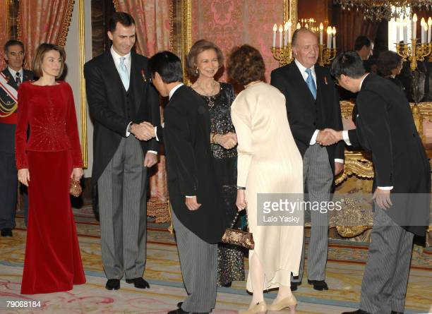 Princess Letizia of Spain Prince Felipe of Spain Queen Sofia of Spain and King Juan Carlos of Spain host the annual Foreign Ambassadors Reception at...