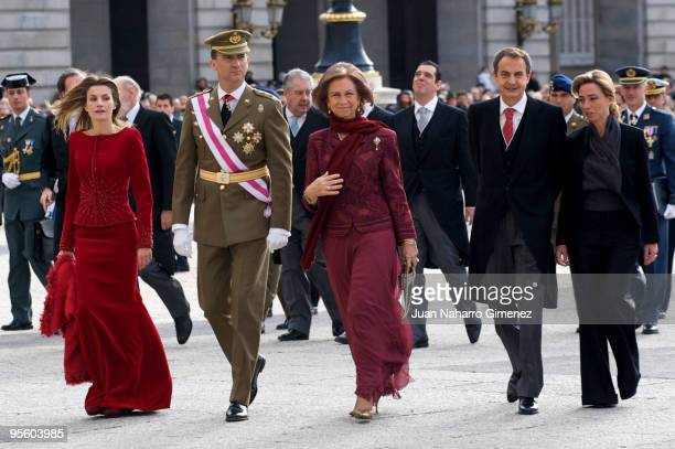 Princess Letizia of Spain Prince Felipe of Spain Queen Sofia of Spain Prime Minister of Spain Jose Luis Rodriguez Zapatero and Carme Chacon attend...