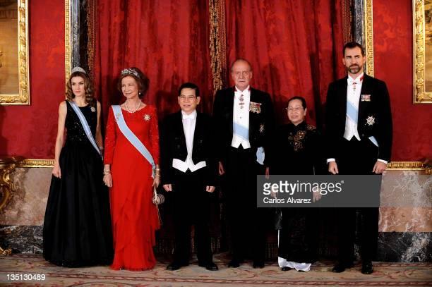 Princess Letizia of Spain, Queen Sofia of Spain, President of Vietnam Nguyen Minh Triet, King Juan Carlos of Spain, First Lady Tran Thi Kim Chi of...