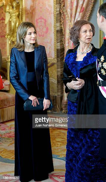 Princess Letizia of Spain; Queen Sofia of Spain, Prince Felipe of Spain attend the Pascua Militar Ceremony at Palacio Real on January 6, 2012 in...