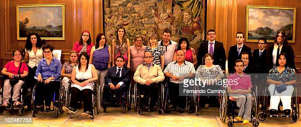 Princess Letizia of Spain receives a representation of Spanish Federation of Associations of Spina Bifida and Hydrocephalus at Zarzuela Palace on...