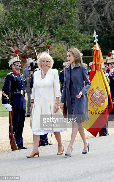Princess Letizia of Spain receives Camilla, Duchess of Cornwall at the Palacio Del Pardo on day one of a three day visit to Spain on March 30, 2011...