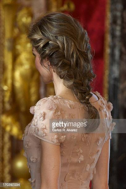 Princess Letizia of Spain receives Crown Prince Naruhito of Japan for a Gala Dinner at the Royal Palace during the third day of his visit to Spain on...