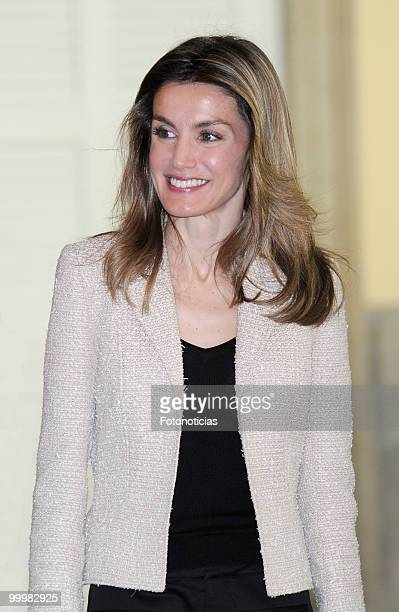 Princess Letizia of Spain receives members of the 'Principe de Girona' foundation at El Pardo Palace on May 19 2010 in Madrid Spain