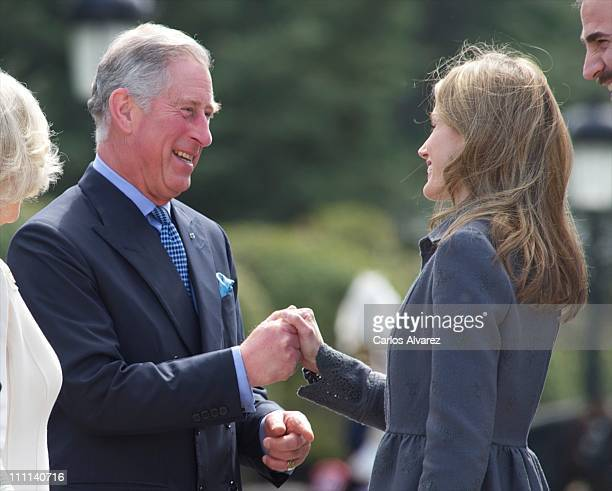 Princess Letizia of Spain receives Prince Charles Prince of Wales at the Palacio Del Pardo on day one of a three day visit to Spain on March 30 2011...