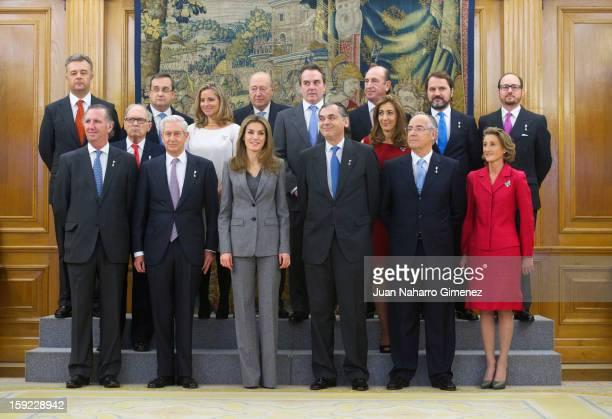 Princess Letizia of Spain receives representatives of the Real Maestranza de Caballeria de Valencia at Zarzuela Palace on January 10, 2013 in Madrid,...