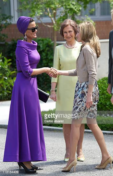 Princess Letizia of Spain receives Sheikha Mozah Bint Nasser AlMissned for Lunch at El Pardo Palace on April 25 2011 in Madrid Spain The Emir of the...