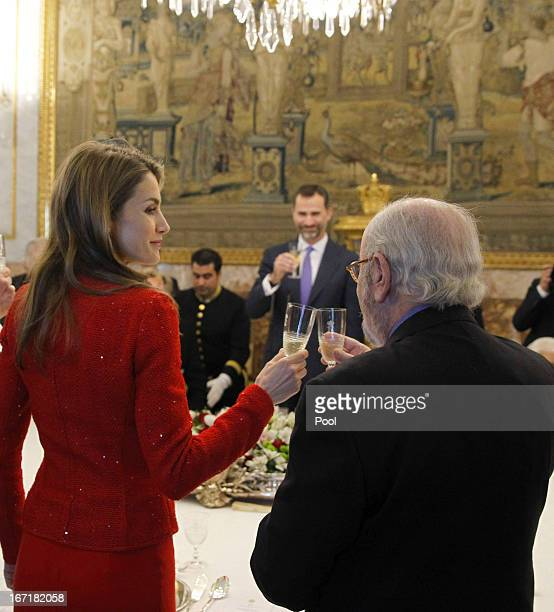 Princess Letizia of Spain receives Spanish author and award winner Jose Manuel Caballero Bonald for a lunch at the '2013 Cervantes Award' at the...