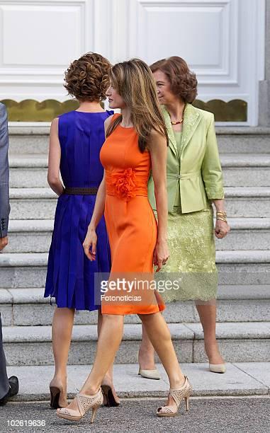 Princess Letizia of Spain receives Syrian Arab Republic President Bashar alAssad and his wife Asma alAssad at Zarzuela Palace on July 4 2010 in...