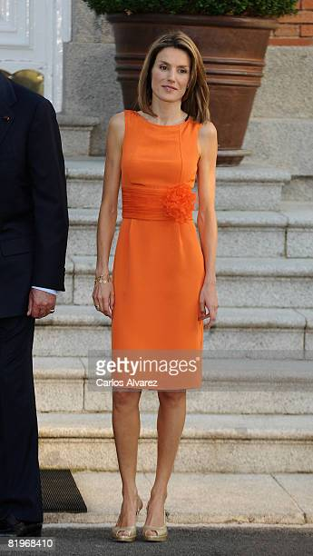Princess Letizia of Spain receives the Crown Prince Naruhito of Japan at the Zarzuela Palace Palace on July 17, 2008 in Madrid, Spain.