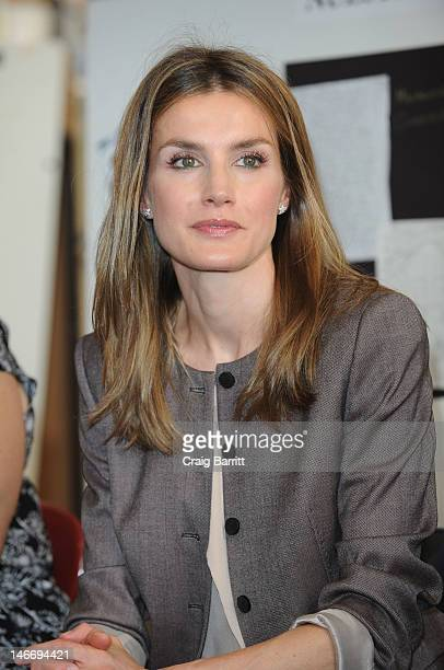Princess Letizia Of Spain visits the Emily Dickinson Primary School on June 22 2012 in New York City