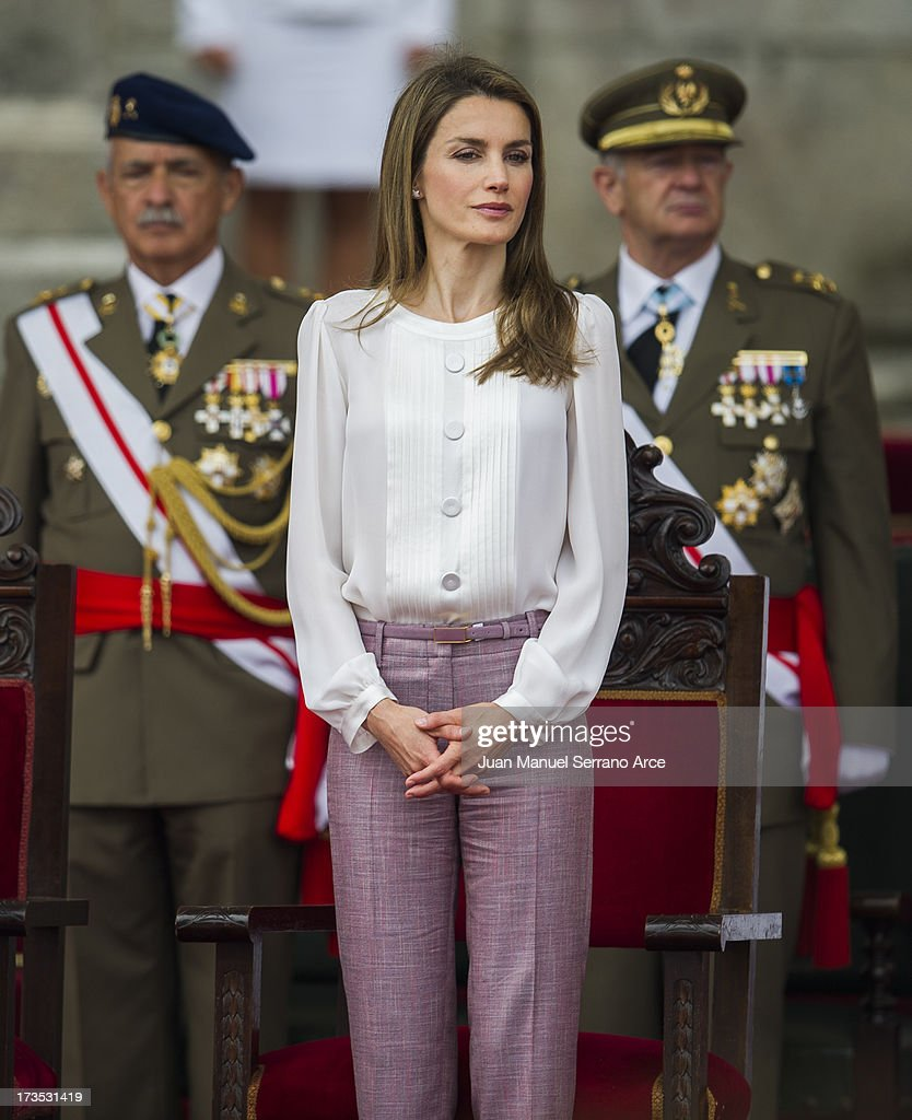 Princess Letizia of Spain visits the Marine Navy Academy to attend a graduation ceremony on July 16, 2013 in Pontevedra, Spain.