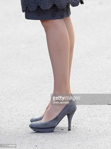 Princess Letizia of Spain visits the Palacio Del Pardo on day one of a three day visit to Spain on March 30 2011 in Madrid Spain Camilla Duchess of...