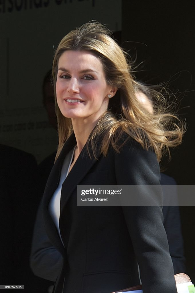 Princess Letizia of Spain visits the Rare Diseases Spanish Federation on February 5, 2013 in Madrid, Spain.