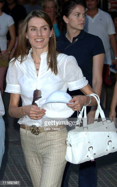 Princess Letizia of Spain with baby Leonor and Queen Sofia of Spain during their summer holiday in Palma de Mallorca on July 21 2006