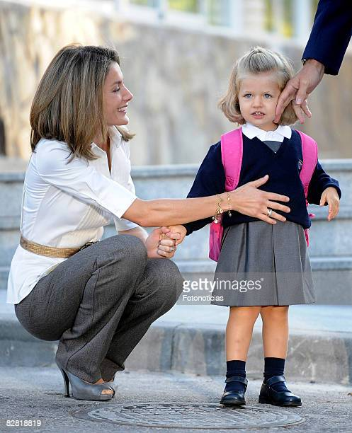 Princess Letizia of Spain with daughter Leonor of Spain on her first day at School at Colegio Santa Maria de los Rosales on September 15, 2008 in...