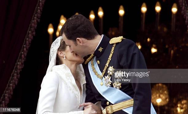 Princess Letizia Ortiz and Crown Prince Felipe during Royal Wedding Between Prince Felipe of Spain and Letiza Ortiz at Alumudena Cathedral in Madrid...