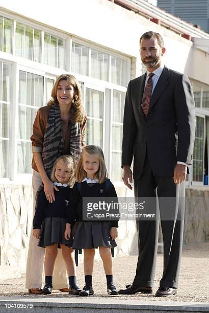 Princess Letizia, Prince Felipe, Infanta Sofia and Infanta Leonor arrive at school on September 15, 2010 in Madrid, Spain.