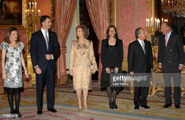 Princess Letizia Prince Felipe Queen Sofia Margarita Zavala Calderon Felipe Calderon and King Juan Carlos