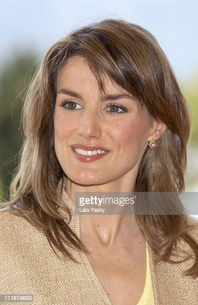 Princess Letizia who is 3 months pregnant visits the 'Claustro de Santo Domingo' in Inca Spain on May 10 2005 during the second day of their one week...