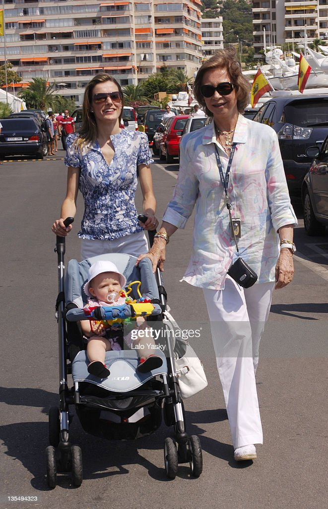 Princess Letizia with Baby Leonor and Queen Sofia during Spanish Royals Sighting in Puerto Portals - July 23, 2006 in Mallorca, Balearic Islands, Spain.