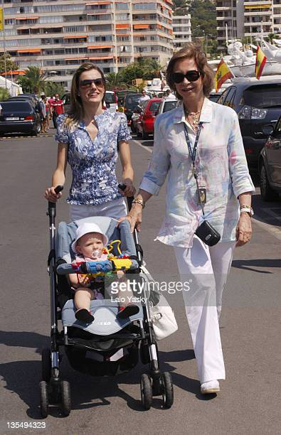 Princess Letizia with Baby Leonor and Queen Sofia during Spanish Royals Sighting in Puerto Portals July 23 2006 in Mallorca Balearic Islands Spain
