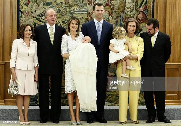Princess Letizia's mother Paloma Rocasolano King Juan Carlos of Spain Princess Letizia of Spain her daughter Princess Sofia Crown Prince Felipe of...