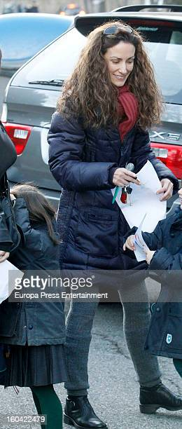 Princess Letizia's sister Telma Ortiz is seen on January 30 2013 in Barcelona Spain