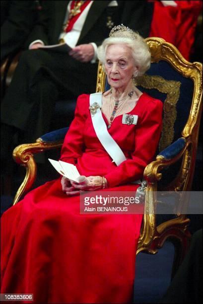 Princess Lilian in Stockholm, Sweden on December 10, 2002.