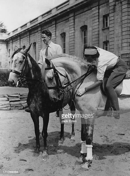 Princess Lilian of Belgium and King Baudouin of Belgium on their recently acquired Irish horses circa 1954